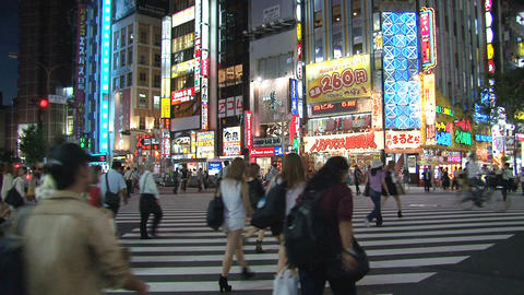 Shinjuku crossroad evening 02 Stock Video Footage