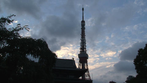 Tokyo tower timelapse evening Stock Video Footage