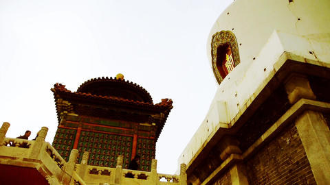 China ancient architecture Tibet White Tower in temple Stock Video Footage