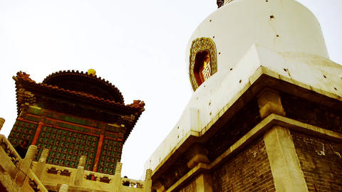China ancient architecture Tibet White Tower in temple Footage