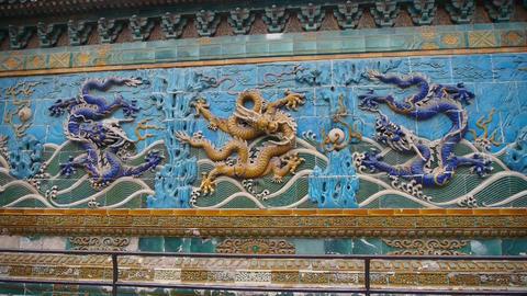 china royal nine dragon wall,stone dragon totem in forbidden city Footage