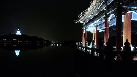 China ancient architecture pavilions & White Tower... Stock Video Footage