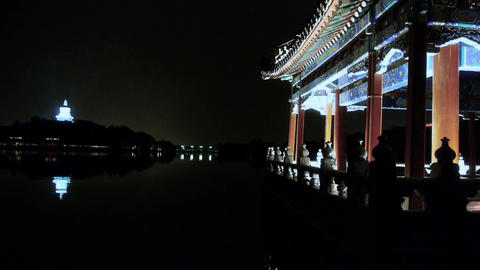 China ancient architecture pavilions & White Tower reflection in pool water Footage