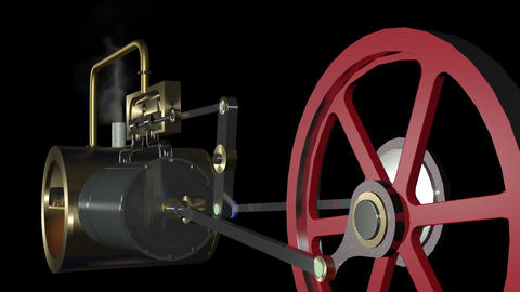 Steam Engine Animation HD Stock Video Footage