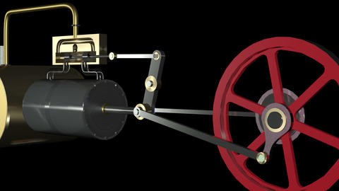 Steam Engine Animation loop HD Stock Video Footage