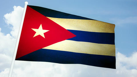 Flag Cuba 03 Stock Video Footage