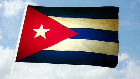 Flag Cuba 03 Stock Video Footage