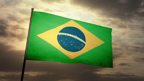 Flag Brazil 05 Stock Video Footage