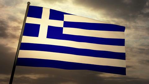 Flag Greece 05 Stock Video Footage