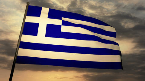 Flag Greece 05 Stock Video Footage