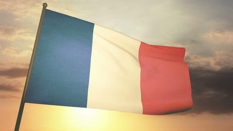Flag France 05 Stock Video Footage