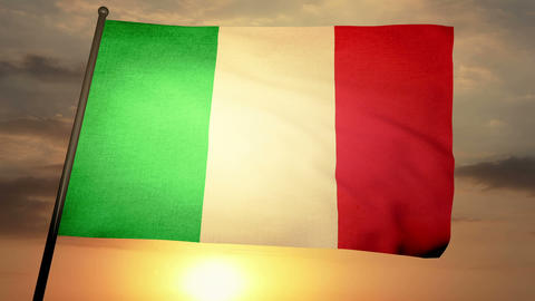 Flag Italy 05 Stock Video Footage