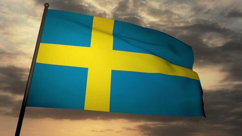 Flag Sweden 05 Stock Video Footage