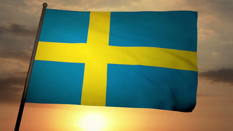 Flag Sweden 05 Stock Video Footage