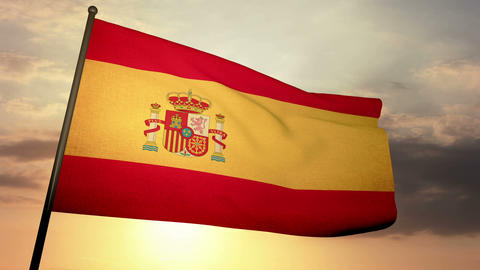 Flag Spain 05 Stock Video Footage