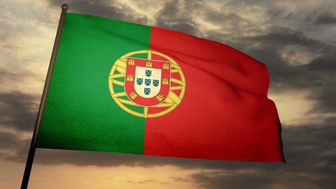 Flag Portugal 05 Stock Video Footage