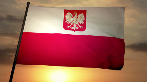 Flag Poland 05 Stock Video Footage