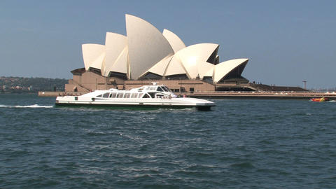 Ferry infront of the Opera house Sydney Footage