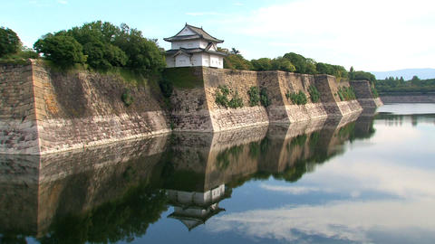 Osaka Castle guard house Stock Video Footage