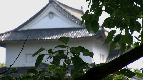 osaka castle guard house focus Stock Video Footage