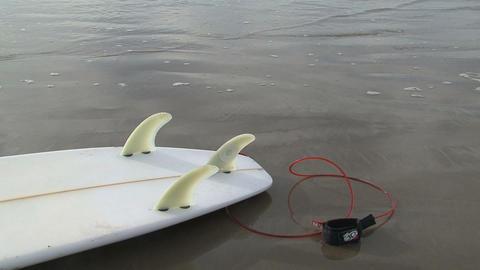 Surfboard on the beach in Australia Stock Video Footage