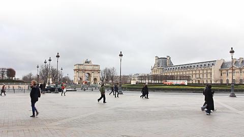Musee du Louvre. Paris, France Stock Video Footage