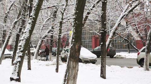 winter street 02 Stock Video Footage