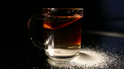 glass and tea Stock Video Footage