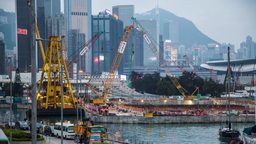Construction site and ship in action Stock Video Footage