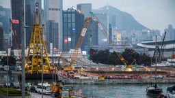 Construction Site And Ship In Action stock footage