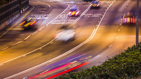 Night Traffic in Hong Kong Stock Video Footage