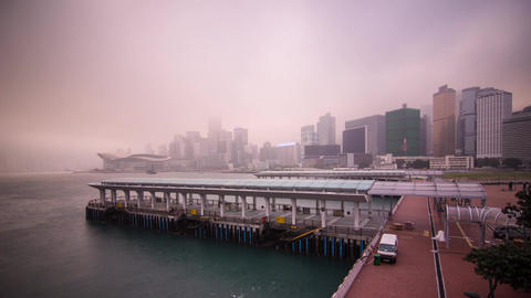 Time Lapse of Cloudy Morning in Hong Kong Stock Video Footage