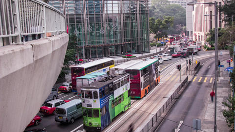 Day Traffic In Central, Hong Kong stock footage