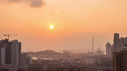 City Sunset over West Kowloon Footage