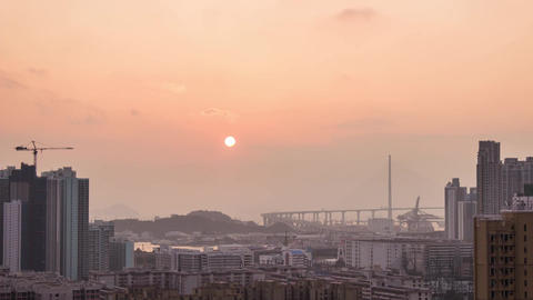City Sunset over West Kowloon Stock Video Footage