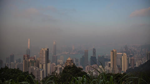Hong Kong Day to Night at The Peak Stock Video Footage