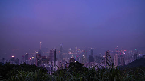 Hong Kong night wide shot at The Peak Stock Video Footage