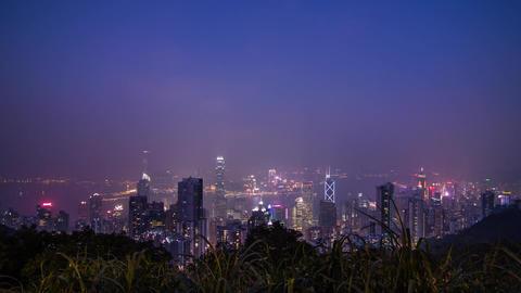 Hong Kong night wide shot at The Peak Stock Video Footage