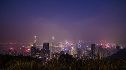 Hong Kong night wide shot at The Peak Footage