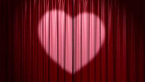 Opening and closing curtain with heart Animation