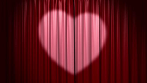 Opening and closing curtain with heart Stock Video Footage