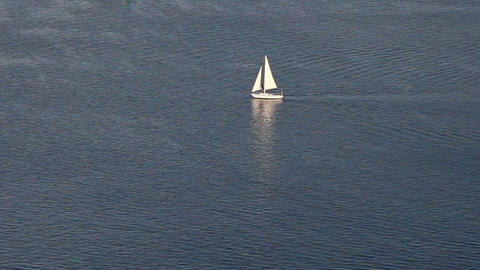Sailing yacht on blue ocean pattern Footage