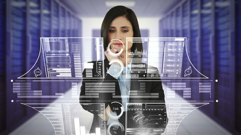 Businesswoman touching a screen Animation