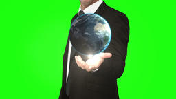 Businessman with globe animation in front of green screen Animation