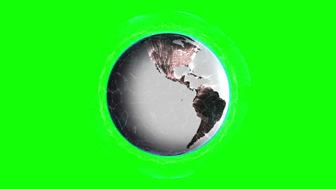 Globe animation in front of green screen Animation