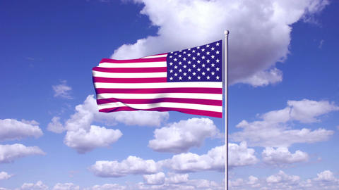 USA flag at sky clouds background Stock Video Footage