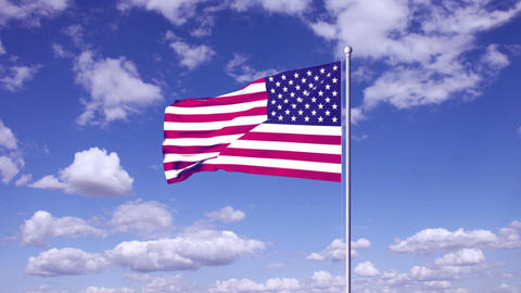 USA flag at sky clouds background Animation