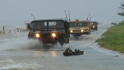Rescue Vehicles flooded road Footage
