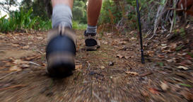 Close up of hiking boots walking Footage