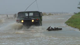 typhoon storm surge - truck driving through flooded road Footage
